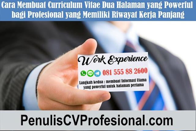 CV 2 halaman untuk profesional berpengalaman
