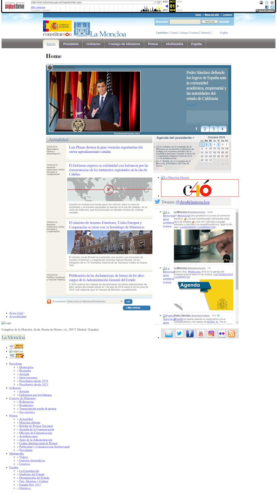 usó de archive.org para visualizar la antigua web de la moncloa