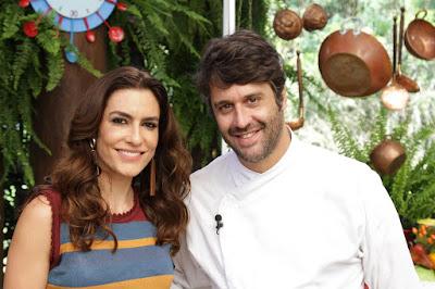 Ticiana e o chef Leo Botto (Crédito: Gabriel Gabe)