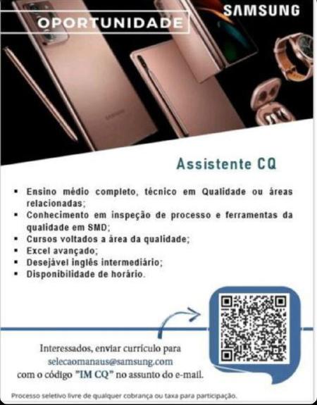 ASSISTENTE CQ - SAMSUNG