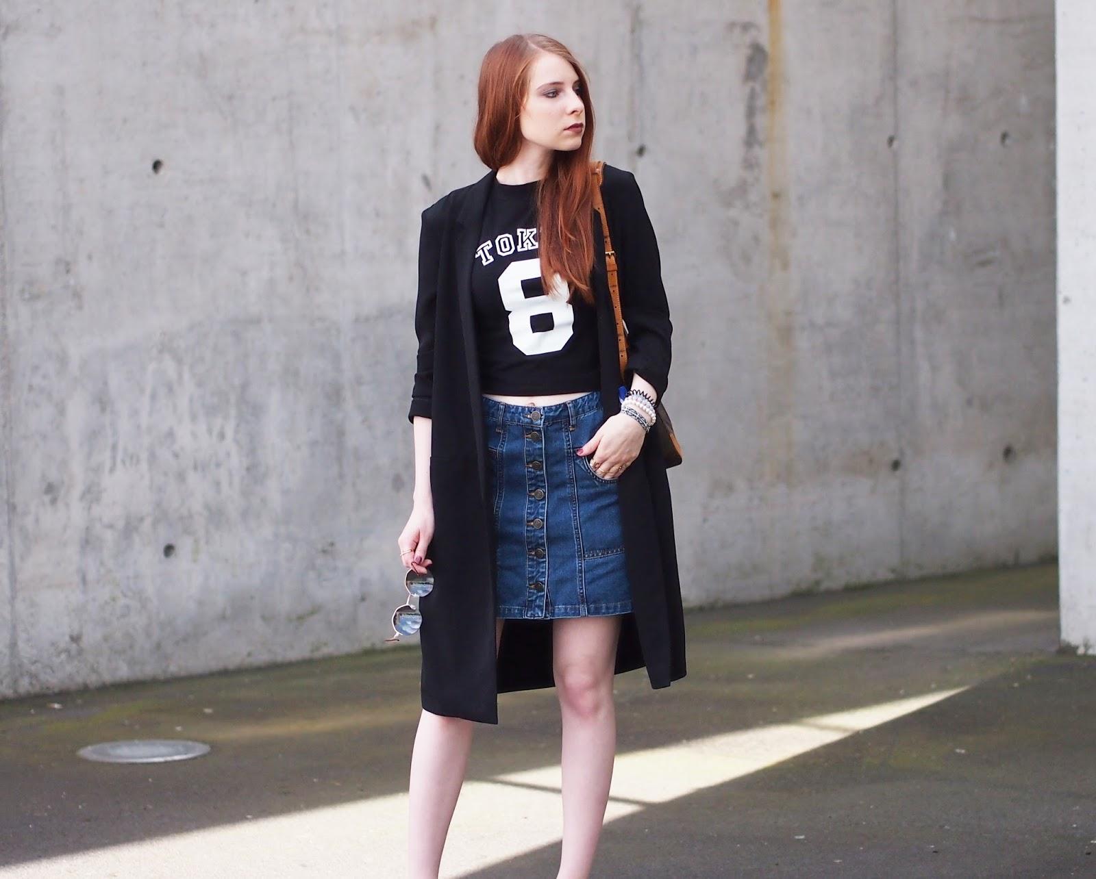 outfit jeans rock und langer sommermantel the fashionable blog. Black Bedroom Furniture Sets. Home Design Ideas
