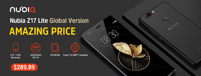 Lowest price $289 89!Official Global Version ZTE Nubia Z17 Lite 5 5