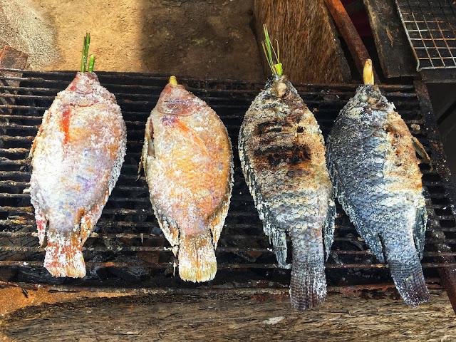 pla pao, or Thai salt-crust fish
