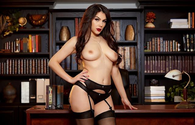 Valentina Nappi black stockings boobs naked