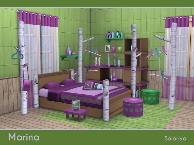 Marina Марина для The Sims 4 Марина спальный гарнитур. Включает в себя 15 предметов, обои и полы. Предметы в наборе: - кровать - постельные подушки - журнальный столик - стеллаж - две балки с декоративными элементами - пуф - шторы - полка - книги - бутылка с мисками - два вида ваз - деревянные люди - маленькие картины - фотообои - полы. Автор: soloriya