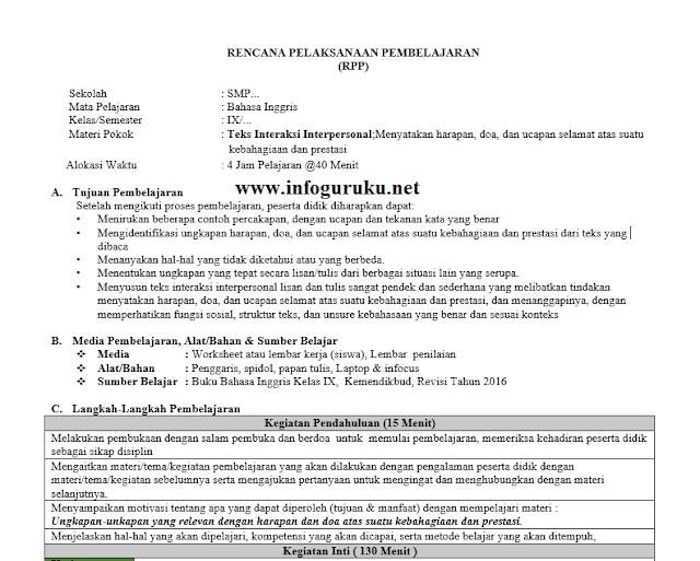 Download Rpp Bahasa Inggris 1 Satu Lembar Smp Kelas 9 Tahun 2020 Infoguruku
