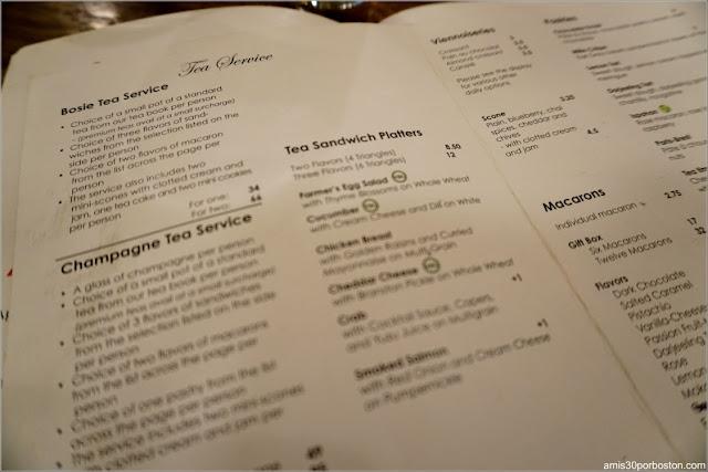 Menú de Té de la Carta del Bosie Tea Parlor en Nueva York