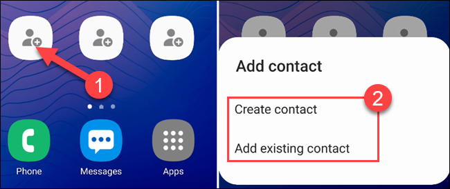 """اضغط على أحد الاختصارات الفارغة لتحديد جهة اتصال ، ثم حدد """"إنشاء جهة اتصال"""" أو """"إضافة جهة اتصال موجودة""""."""