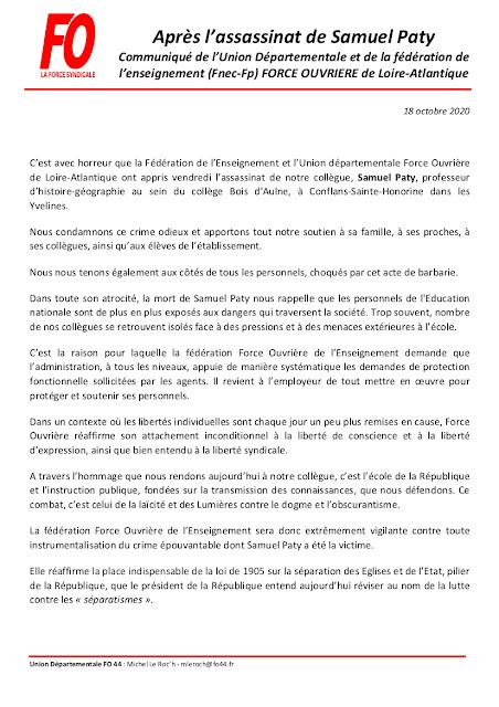 APRÈS L'ASSASSINAT DE SAMUEL PATY