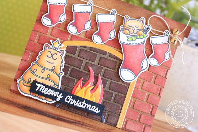 Sunny Studio Stamps: Cat Lovers Hop Fireplace Dies and Santa's Helpers Fireplace Card by Eloise Blue