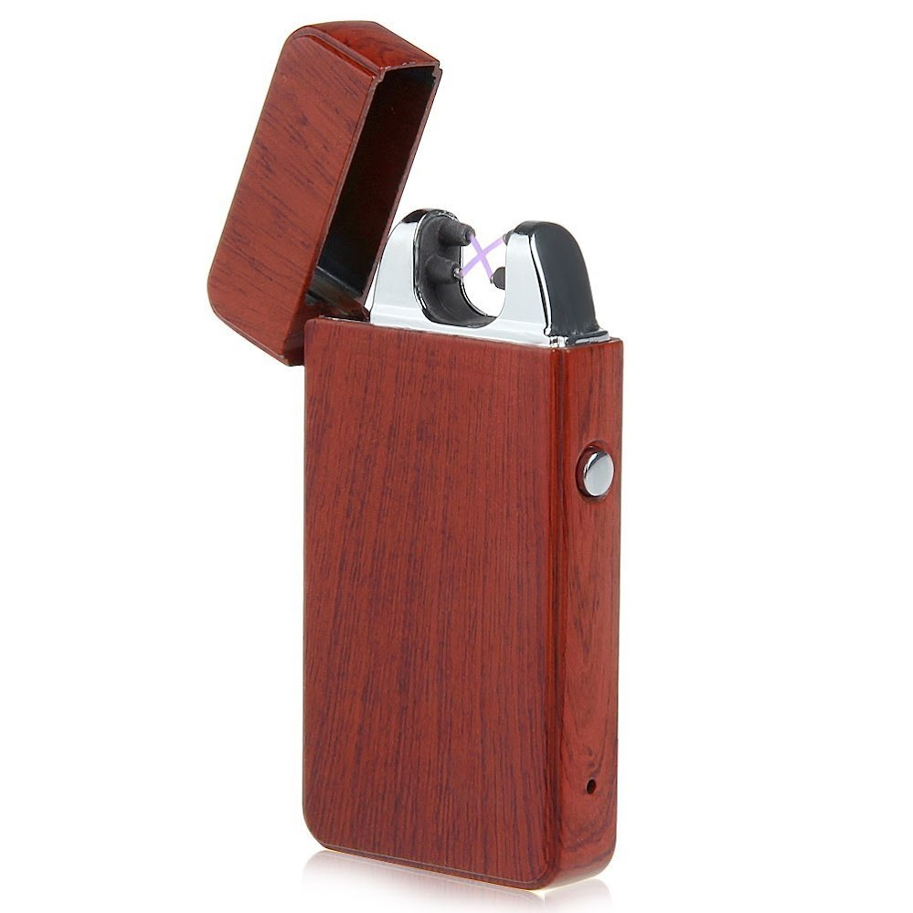 Kivors USB Rechargeable Flameless Electronic Dual Pulse Double Arc Cigarette Lighter (Wood grain)