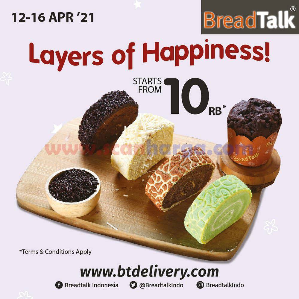 BreadTalk Layers of Happiness! Promo Dry Cakes & Lapis Slice harga mulai 10rb