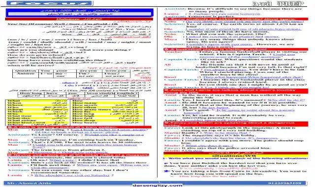 مراجعة ليلة امتحان اللغة الانجليزية للصف الثالث الاعدادى الترم الثانى 2021 اعداد كتاب Focus