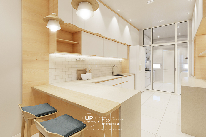 Bandar rimbayu penduline dry kitchen design in scandinavian style with wood texture and white color