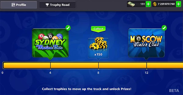 8 ball pool Free Rewards Trophies