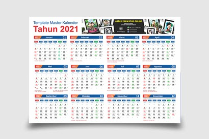 template Kalender 2021 hijriah lengkap tanggalan jawa dan islam cdr editable