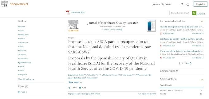 Las propuestas de la SECA para la recuperación del Sistema Nacional de Salud tras la pandemia por SARS-CoV-2