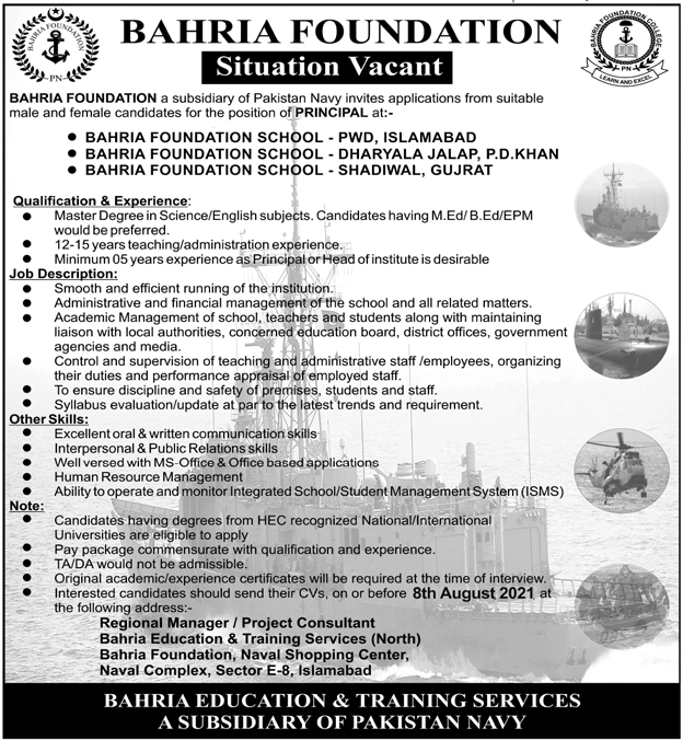 Pakistan Navy – Bahria Foundation Jobs 2021 for Bahria Schools