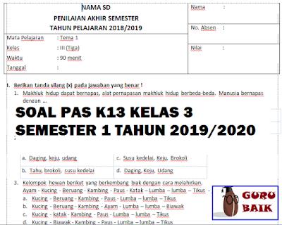 Soal PAS/UAS K13 Kelas 2 Semester 1 Revisi 2019