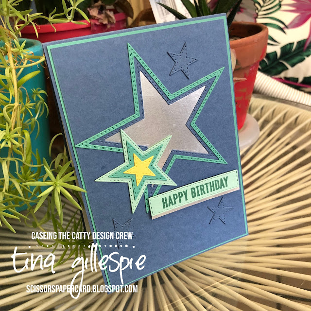 scissorspapercard, Stampin' Up!, CASEing The Catty, Itty Bitty Birthdays, Stitched Stars Dies, Stitched Rectangles Dies, Silver Foil