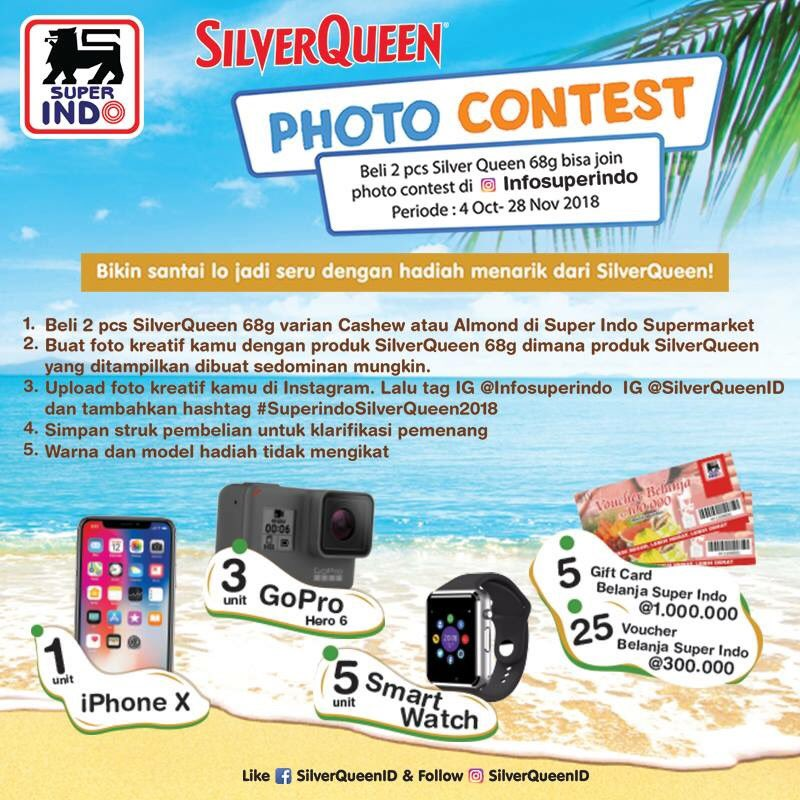 Superindo - Promo Photo Contest SilverQueen Hadiah IPhone X dan Lainnya