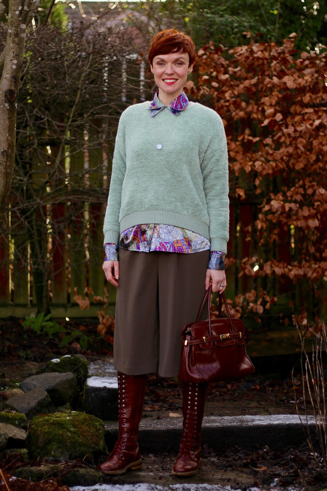 Fake Fabulous | Khaki culottes, sage and oxblood.