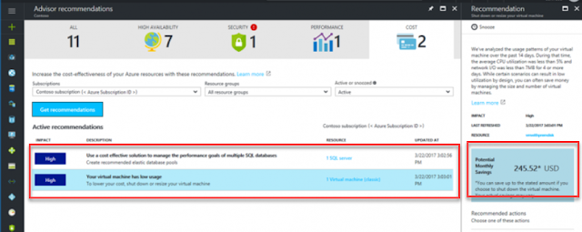 Azure recommendations example