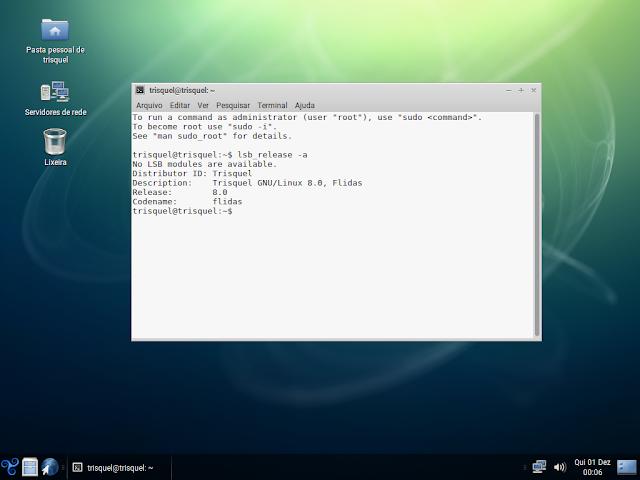 Trisquel GNU/Linux 8.0 sendo executado no QEMU