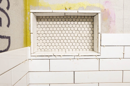 tiling around shower niche subway install reno