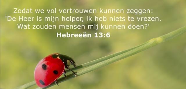 Zodat we vol vertrouwen kunnen zeggen: 'De Heer is mijn helper, ik heb niets te vrezen. Wat zouden mensen mij kunnen doen?'