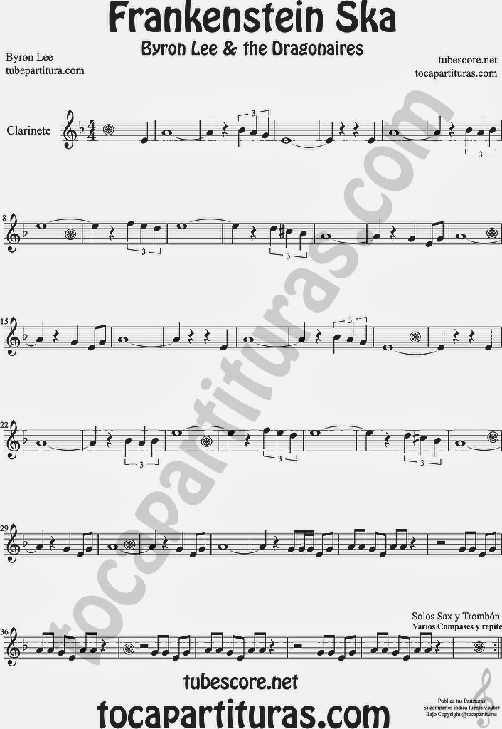 Frankenstein Ska Partitura de Clarinete  Sheet Music for  Clarinet Music Scores Byron Lee & The Dragonaires