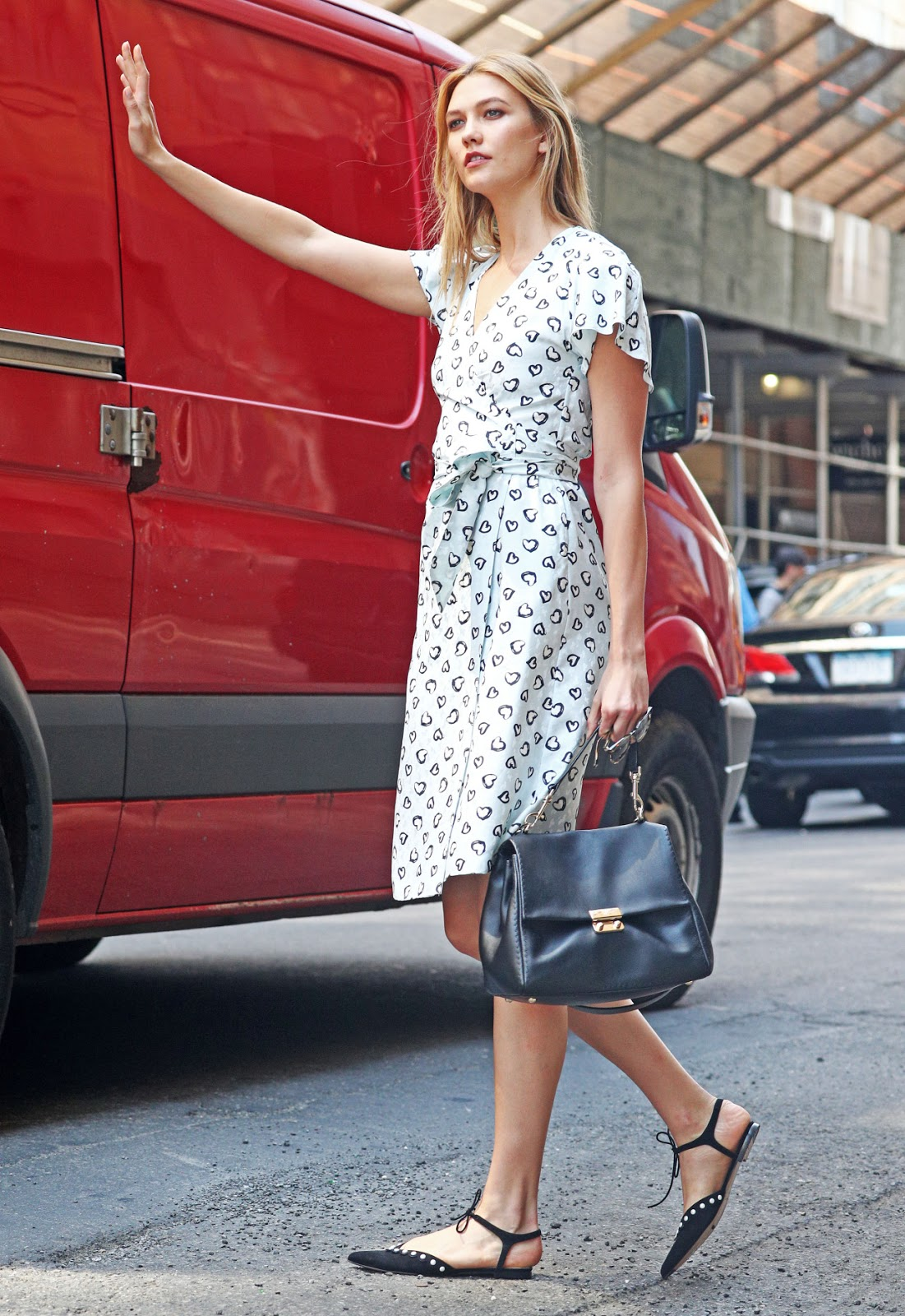 Karlie Kloss Wears Heart Print Dress in NYC