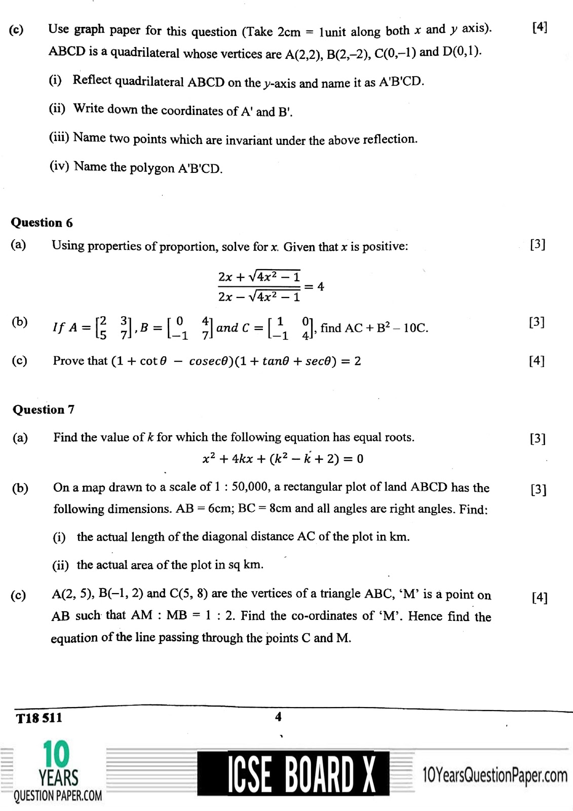 ICSE Board 2018 Mathematics Question paper page-04