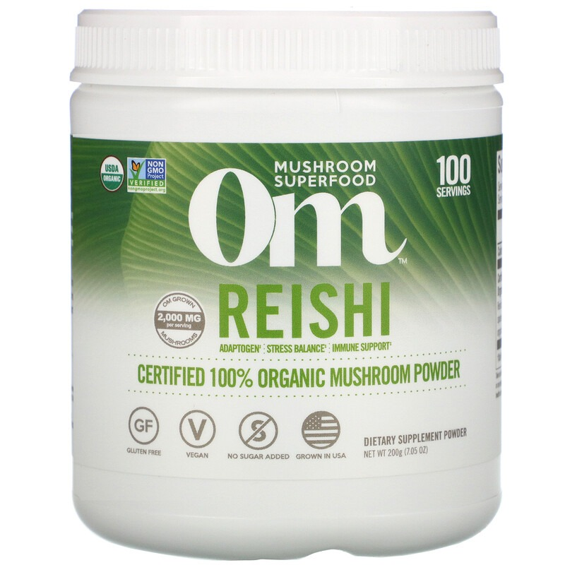 Om Mushrooms, Reishi, Certified 100% Organic Mushroom Powder, 7.05 oz (200 g)