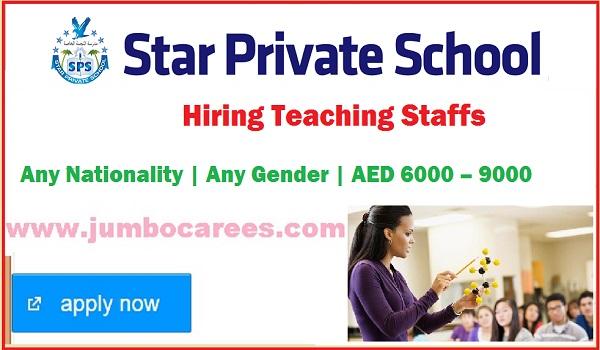 Star Private School Jobs Latest, Teaching job Vacancies in UAE,