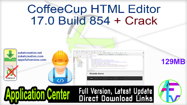 CoffeeCup HTML Editor 17.0 Build 854 + Crack