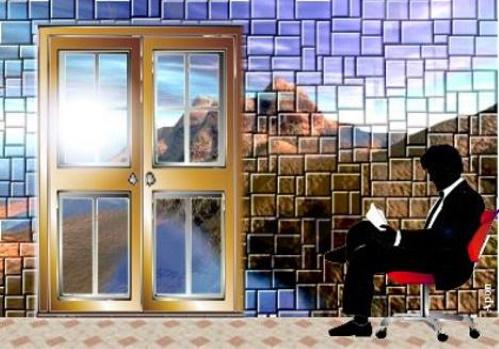 #PraCegoVer: Paisagem surreal com homem lendo em ambiente interno com um simulacro de natureza em uma parede de pedra e uma porta fechada, que dá para a natureza lá fora.