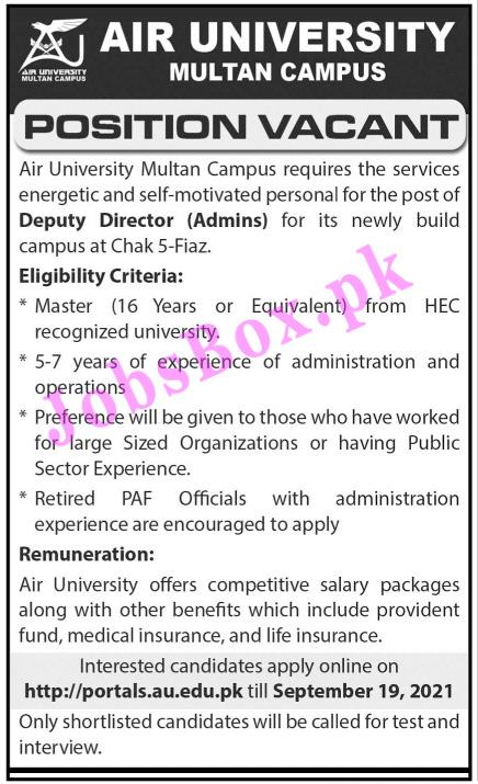 http://portals.au.edu.pk - Air University Multan Campus Jobs 2021 in Pakistan