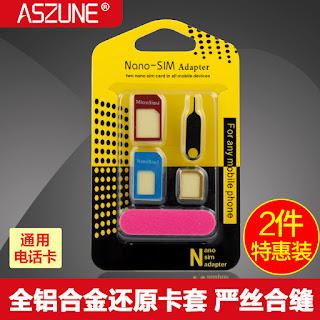 5 IN 1 Nano SIM Card Adapter to Micro Standard Metallic Aluminium Adapter Converter Set