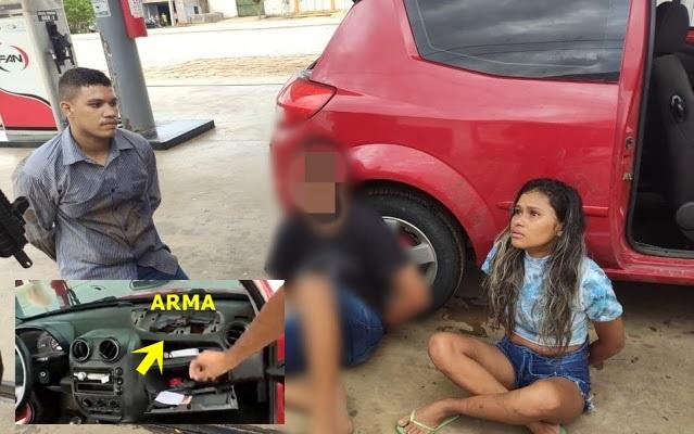 Vídeo: Policia Militar intercepta carro com criminosos em posto de combustível no RN