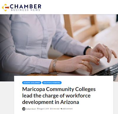 snapshot of Chamber story with headline: Maricopa Community Colleges lead the charge of workforce development in Arizona