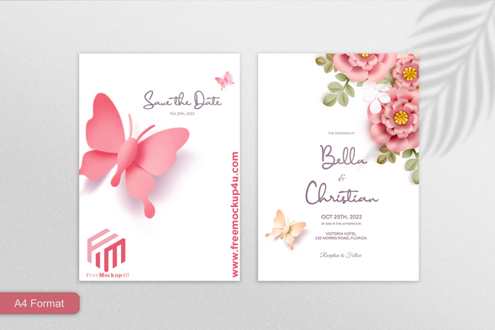 Double Sided Paper Style Floral Wedding Invitation Pink Background