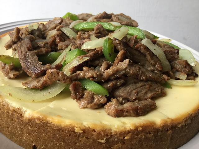 Savory Philly Cheesesteak Cheesecake