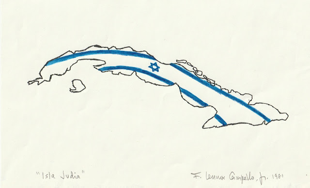 """""""Isla Judia (Jewish Island)"""" 1981 Ink and Watercolor on paper by F. Lennox Campello"""