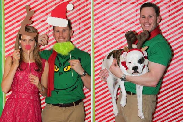 DIY home holiday photo booth for a Grinch party