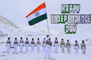 Indian flag in hands with indian army soldier