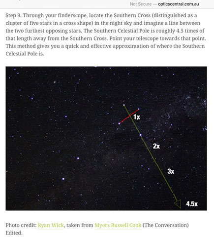 Using the Southern Cross as one approach to locating the South Celestial Pole (opticscentral.com.au0