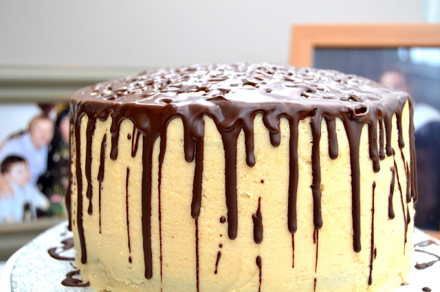 Fudgy Chocolate Cake with Creamy Peanut Butter Frosting