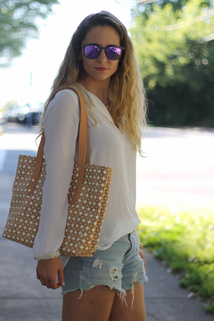 White polka dot tote bag