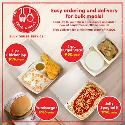 """Jollibee's """"Send A Meal"""" service makes bulk purchase of food  for front liners and affected communities more accessible and convenient"""